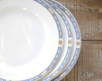 Grindley Blue White Salad Plates Set of 3, Wedding Plates, Table Settings, Cottage Style Plates,Replacement China