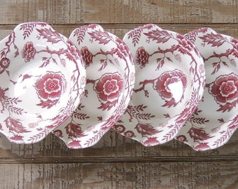 Royal China Pink Traditions Transferware Lugged Cereal Bowls, Retro Restaurant Ware, Mid Century  Ca. 1959