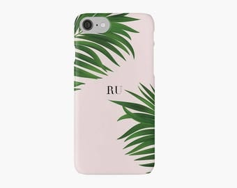 Green Palm Tree iPhone 7 case, Initials iPhone 7 plus case, neon iPhone case, pink iPhone case