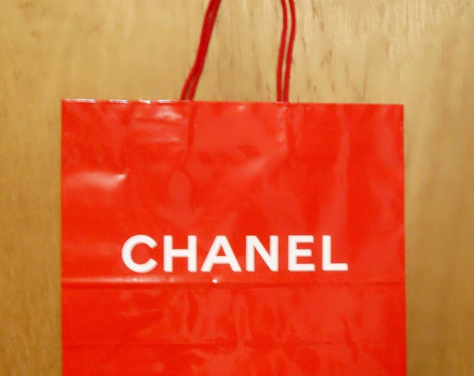 Vintage 1990s Chanel Perfume Promotional Glossy Red Paper Shopping Bag Designer Fragrance Collectible