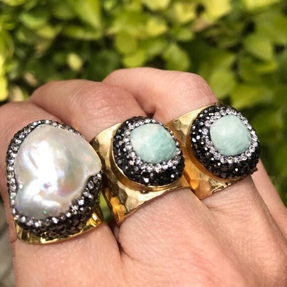 Pearl ring and amazonite rings, birthstone rings, statement rings