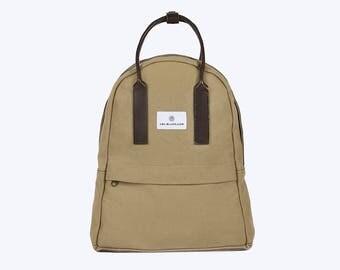 NO. 13 Backpack, Beige Canvas Backpack, Beige Backpack, Women Backpack, Kid Backpack, 12 Inch MacBook Backpack, Laptop Backpack