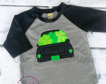 St. Patrick's Day Truck Shirt - Personalized Shamrock Shirt - Boys Shamrock Shirt - Truck - Clover - Monogram Truck - Boys St. Patricks Day