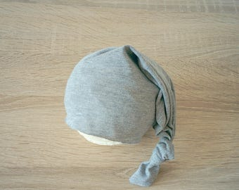 Newborn stocking hat Baby sleepy hat Newborn photo props Newborn hat Knotted baby hat Newborn boy prop Gray newborn hat Night cap baby hat