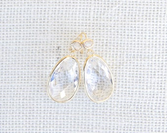Gold Bridal Earrings . Gold & Crystal Drop Earrings