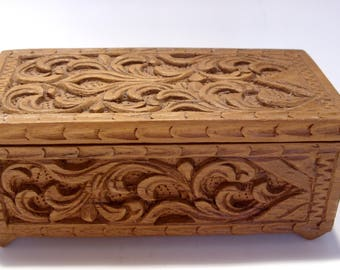 Carved Wooden Box is Hinged and Lined with Pink Velveteen Made in Thailand