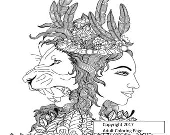 Digital Fantasy Coloring Page Item 7.  Adult Coloring Page. Printable Coloring Page. Instant Download
