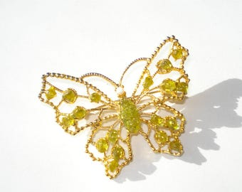 Vintage Butterfly Brooch - Gold and Jade Green Jewelry Pin - 1980s