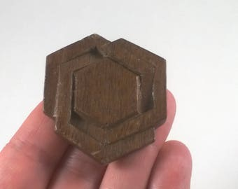 Vintage Hexagon Wood Brooch - Brown Wooden  Chunky Pin Jewelry 1970s