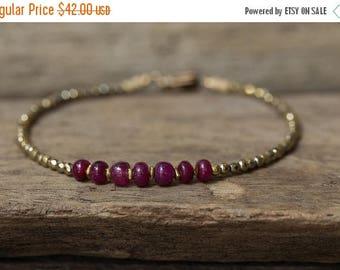 JULY 4TH SALE Ruby Bracelet, July Birthstone Jewelry, Gold Bracelet, Hematite Bracelet, Stacking Bracelet, Beaded Bracelet, Gemstone Bracele