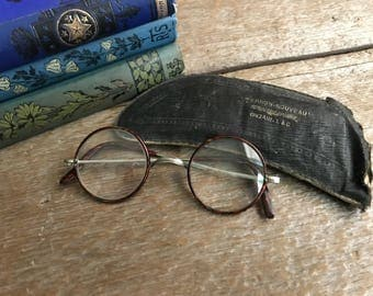 Antique French Wire Rim Glasses, Spectacles, Faux Tortoiseshell, Eye Glasses Props