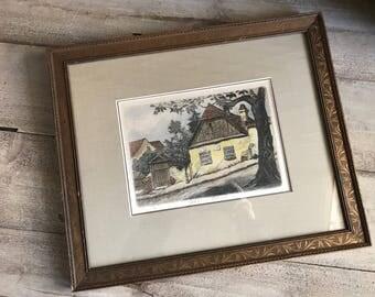 Framed Original Lithograph Print, Country Village, Antique Frame, Signed
