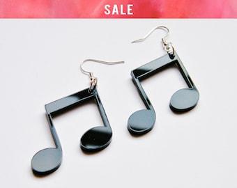 SALE Large Music Note Earrings