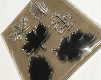 6 piece different leafs clear stamp set, 30 - 45 mm (BB1/5)