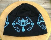 Sheikah Beanie - Black with Light Blue - Large