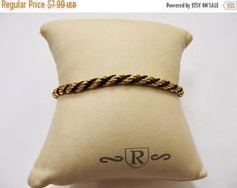 ON SALE TRIFARI Vintage Black and Gold Tone Rope Bracelet Item K # 1971