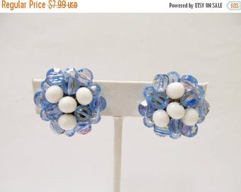 ON SALE Vintage Blue and White Glass Beaded Cluster Earrings Item K # 1431