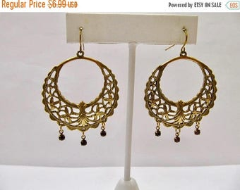 ON SALE Vintage Inspired Ornate Dangle Earrings with Rhinestone Accents Item K # 1950