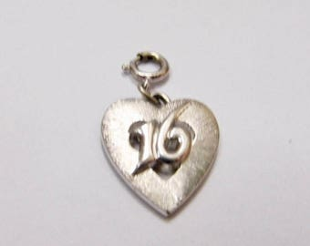 ON SALE Vintage Costume Sweet 16 Heart Charm Item K # 918
