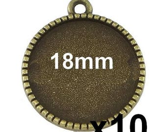 10 blank cabochon pendant bronze medal for 18mm mod640