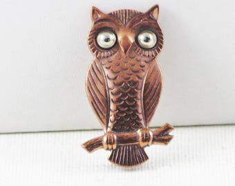 Vintage Bell Copper Owl Brooch Pin (TP-B-1-1)