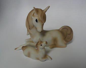 VIntage Mother and Foal Unicorn Figurine Mystical Porcelain Unicorns Lego Bone China Enesco
