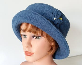 Hat Bucket Hat, Cloche,  Boiled Wool - jeans- Womans Hat, Formal Hat- Wool Hat - 20 colors / every size