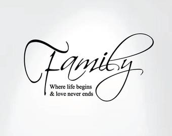 Family Where Life Begins and Love Never Ends Wall Decal Art Saying Home Decor Sticker #1258