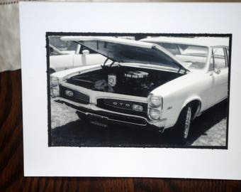 photo card, black and white, classic car, GTO photograph