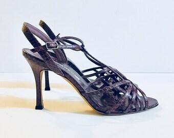 Designer MANOLO BLAHNIK Woman's Heels Size 37.5, Snakeskin Purple, Antique Alchemy