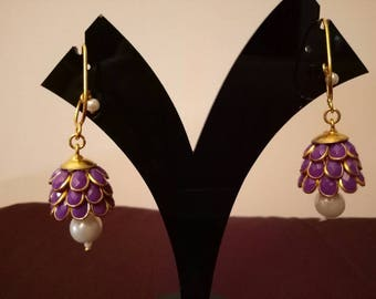 Three- tier Indian pacchi, pachi jhumkas in purple with golden hook, Indian jewelry, earing