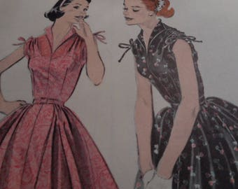 Vintage 1950's Butterick 7382 Dress Sewing Pattern Size 14 Bust 32