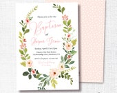 Baptism Invitation, Printable, Girl Floral Wreath Invite, Blush Pink, Simple, Modern, Watercolor, 1st Communion, Greenery, Christening