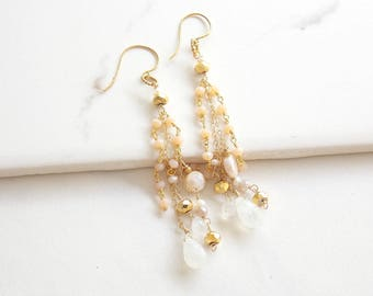 Cream and Peachy Pink Gold Filled Long Cascading Moonstone and Freshwater Pearl Earrings. Long Earrings, Moonstone Gemstone