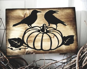 Rustic fall or Halloween black crows black birds on a pumpkin rustic halloween sign halloween decor fall decor gift wall hanging dark sign