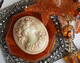 Bakelite Cameo Victorian Cut Steel Buckle 70s Glitter Star Statement Necklace