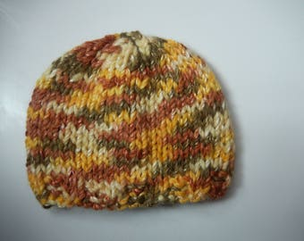 hand knitted baby hat / hand knit baby cap / multi color little hat newborn