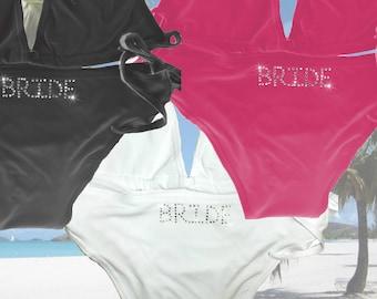 Personalised Bikini - White Black Hot Pink  - Wedding Mrs Honeymoon Beach Hen Party Bride Bridesmaid Just Married Wifey Holiday Swimsuit