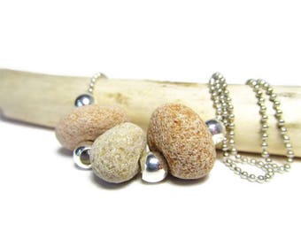 Superior Sandstone and Silver 24 Inch Necklace, Lake Superior Sandstones, Pink Sand Stones, Silver Plated Beads, Petite Ball Chain, Natural