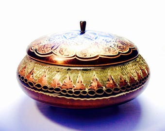 """Etched Copper 6"""" Round Bowl Footed with Lid, Eclectic/BOHO Design, Made in India"""