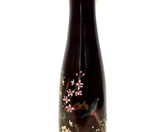 """Etched Black Lacquer Wood 15"""" Art Vase, Hand-painted Birds Flowers Butterfly Bamboo"""