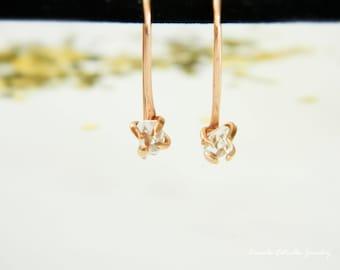 Diamond Earrings, Dangle Earrings, Earrings for Women, Rose Gold Earrings, Drop Diamond Earrings, Boho Earrings, Herkimer Earrings