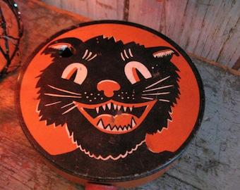 vintage halloween noisemaker /  kirchhof noisemaker / black cat / vintage halloween toy / halloween decor