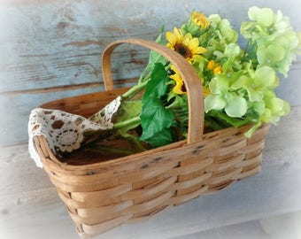 vintage gathering basket longaberger basket square basket with wood handle woven splint basket