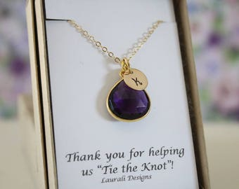 4 Bridesmaid Monogram Necklace Gold Amethyst, Bridesmaid Gift, Purple Quartz, Gold, Initial Jewelry, Personalized, Jr Bridesmaid Gift