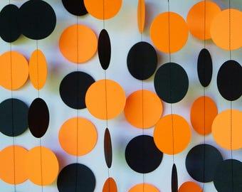 Halloween Garland, Bright Orange and Black Paper Garland, Halloween Decoration, Halloween Party Decor, 10 ft. long