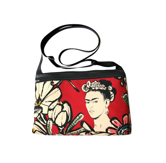 Frida Kahlo, cotton front, medium crossbody, vegan leather, zipper top
