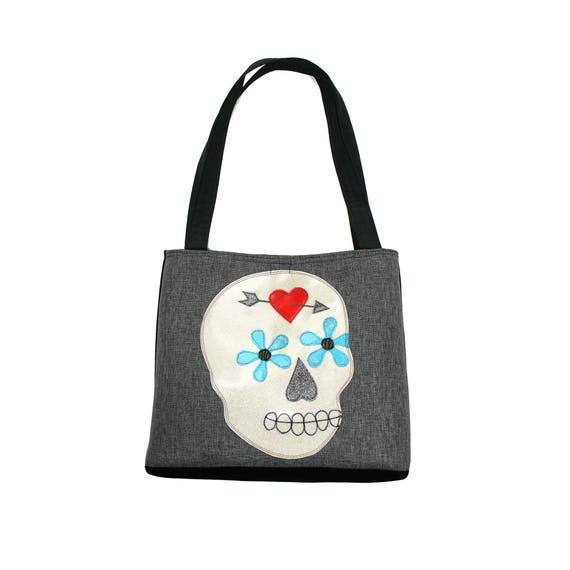 Sugar skull, glitter vinyl, Dia de los Muertos, Halloween, large tote, tote bag, travel bag