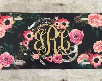 Personalized Floral License Plate with Feather and Antlers  Monogrammed License Plate