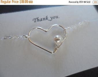 ON-SALE Sterling Silver Heart and Pearl  Necklace- Flower Girl Necklace, Bridesmaid Gift, Birthday Gift, Mother's Gift